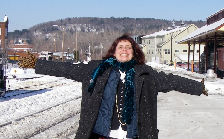 """Laura before boarding the """"inauguration train"""" at White River Junction, Vermont"""