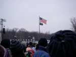 The crowd and the flag at the end of the reflecting pool, Lincoln Memorial
