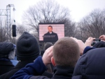 Barack Obama, speaking to the crowd at the Memorial (via jumbotron)